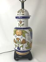 Vtg Italian Table Lamp & Finial Hand Painted Large Ginger Jar Vase, Blue, Orange