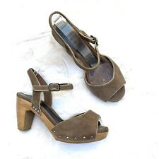 MARNI Wooden Platform Suede Strap Leather Sandals Size 37 Boho Heels $1130