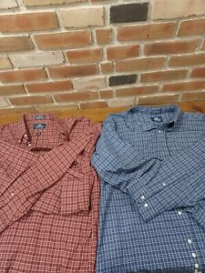 (2)Stafford Wrinkle Free Mens X- tall 18. 37/38. Red and blue button down plaids