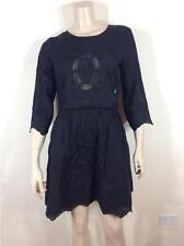 FAMOUS CATALOG $118 BATTENBURG LACE-INSET COTTON BLACK DRESS SZ 8