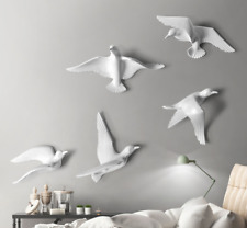 More details for 5pcs resin birds creative 3d sticker living room tv wall background home decor