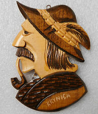 Wooden plaque from Krynica Poland traditional Polish hat feather pipe 6 inches