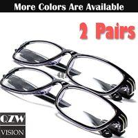 2 Pairs Mens Womens Spring Hinge Rectangular Reading Glasses Retro Power Reader