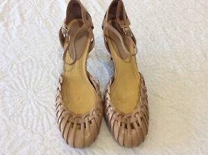 Nine West beige strappy court shoes size Us 7.5W/ uk 5.5/39.5