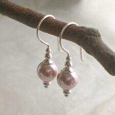 925er Zarte MUSCHELKERN Ohrringe nude rosa 925 Sterling Silber Perlen p222