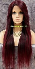 Long Layered Off Black Burgundy Mix Full Lace Front Wig Heat Ok Hair Piece NWT
