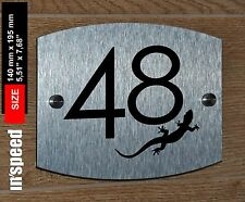 Lovely personalized house or door number sign (48) / plaque / plate with gecko