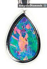 rare harlequin black opal 18K gold pendant green blue salmon pink Australian