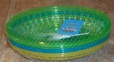 6 Piece Burger Basket Set Green Blue Oval Picnic NEW Fries Hamburger Plates NEW