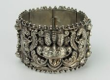 Antique Anglo Indian Swami Silver Hindu Panel Bracelet with Elephants - 110.7 g