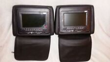 "2 x 7"" Leather Car Headrest Monitors DVD Player 32 Bits Games IR FM Zipper Cover"