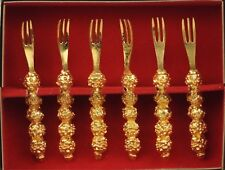 Vintage Gold Nugget Cocktail Hors D'Oeuvres Forks Set of 6 in Storage Box