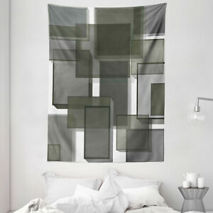 Taupe Tapestry Cubes Modern Abstract Print Wall Hanging Decor
