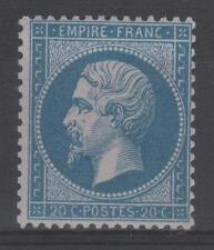 "FRANCE  STAMP TIMBRE N° 22 a "" NAPOLEON III 20c BLEU FONCE "" NEUF xx TB  P396"