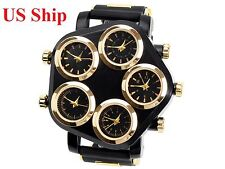 Men's Unique Quartz Pentagon Shape Face Designer 5 Time Zone Wrist watch