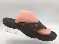 Oakley Brown Leather Flip Flop Thong Sport Sandals Casual Beach Men's US 14