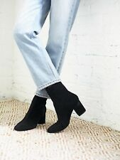 New $168 FREE PEOPLE Cecile Black Velvet Ankle Boots 39 8.5