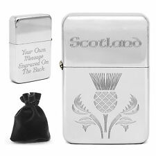 Personalised Scotland Lighter Scottish Thistle with Engraved Message Customised