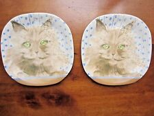Collectible Minou-ette Green eyed Kitty Cat Plate, set of 2 by C. Pradalie, 1985