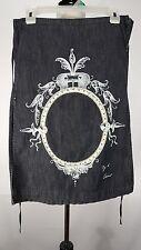 Diesel Women's Skirt  Sz 2 Denim Dark Wash Drawstring Waist Straight Side Slits