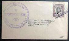 1939 Tonga Toga Tin Can Canoe Mail Cover to Pago Pago American Samoa