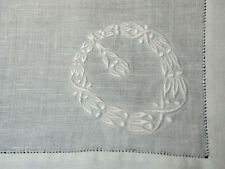 "Antique Dozen Linen Dinner Napkins Fancy Embroidery Wreath 20"" Sq."