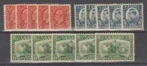 A3115: (5) Canada #192-194 Mint, OG, F-VF, LH; CV $91 H