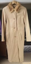 Damselle New York camel colored womans calfskin leather coat with fox fur collar