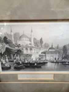 FRAMED ANTIQUE ASIA MINOR TURKEY BUYAK TURKISH  ENGRAVING PRINT IN FRAME