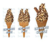 Crunchie Whippy Ice Cream Cone Stickers Set of 3 - Single, Twin & Waffle