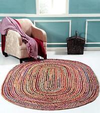 Handmade Hand Braided Rug Oval Area Dhurrie Rug