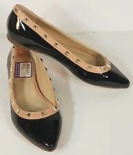 NWT BCBGeneration black patent studded flats slip on dress shoes ladies size 6