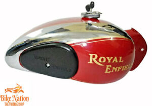 Royal Enfield 4 Gallon(approx) Chrome & Red Painted Fuel Tank 1990's  Fit For