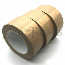 3 x 50mm Brown Self Adhesive Backing Tape Picture Framing Canvas Craft Kraft 50m