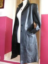 Ladies NEXT black genuine leather JACKET COAT UK 16 14 blazer full length goth