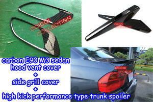 Carbon hood vents + side grill cover + performance trunk spoiler for BMW E90 M3◎