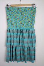 Scrapbook Originals Blue Fold Over Skirt Strapless Dress Size M