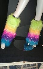 NEW FLUFFY FAUX FUR BOOT CUFF TOPPERS ~ RAINBOW STRIPED FURRY LEG WARMERS