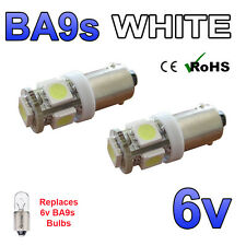 2 x White 6v LED Side Light BA9s 5 SMD Bayonet Classic Car Scooter Bright Bulbs