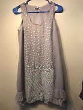 Banana Republic Heritage Sequin Ruffle silk Dress, Grey SIZE 2      #813838 v920