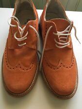 scarpa stringata scamosciata arancione made in italy gallegia milano 1950