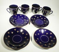 FOUR Rorstrand Sweden Fleur di Lis Cobalt Blue 1950's Demitasse Cups and Saucers