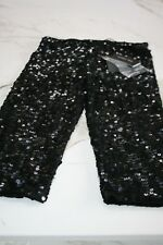 Patrizia Pepe Firenze STUNNING black sequin 3/4 length shorts BNWT  £199 Size 12