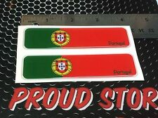 "Portugal Flag Proud Domed Decal Car Emblem Flexible 3D 4""x1"" Set of 2 Stickers"