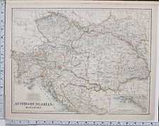 1889 Groß Antik Landkarte ~ Austro-Hungarian Monarchy Kroatien Slawonien Bohème