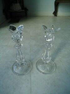 "Set of 2 Crystal Clear 7"" Tuscany Tulip Taper Candlestick Holders"