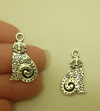 10 cat charms pendants tibetan silver antique jewellery making wholesale  AM138