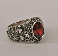 9927863 925er Silber Granat-Markasit-Ring Gr.56  Vintage