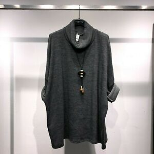 Maxi maglione pullover donna lungo min abito manica pipistrello collo alto 12182