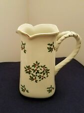 Christmas Pitcher Formalities Holly Collection Large Ivory China Baum Brothers